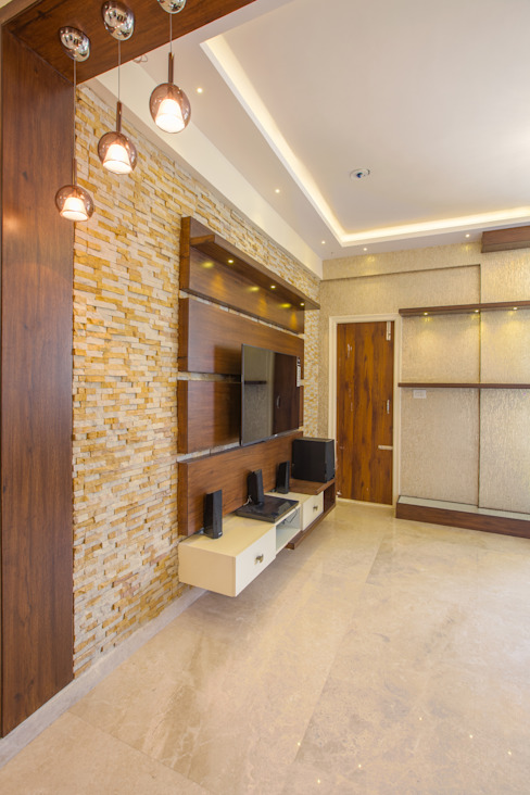 3 BHK apartment interiors in rustic look theme : classic  by In Built Concepts is now FABDIZ,Classic Plywood