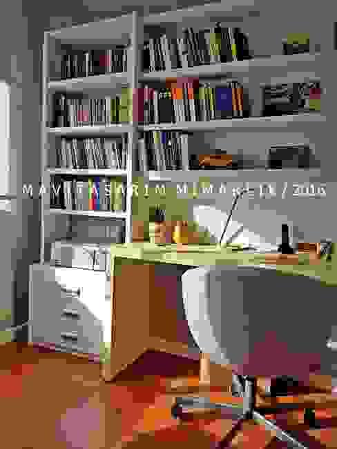MAVİTASARIM MİMARLIK / ŞİŞLİ PROJESİ / çalışma odası homify Çalışma OdasıAksesuarlar & Dekorasyon Ahşap Beyaz