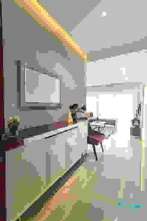 3 BHK apartment - RMZ Galleria, Bengaluru Modern living room by KRIYA LIVING Modern