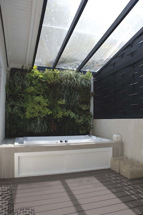 Casa 575. Terraza interna Jardines de estilo moderno de Arq Renny Molina Moderno