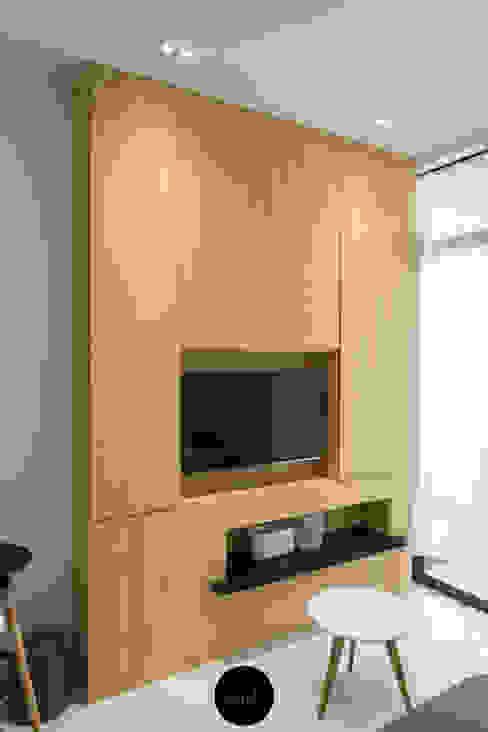 TV Feature wall Scandinavian style living room by Y&T Pte Ltd Scandinavian Wood Wood effect
