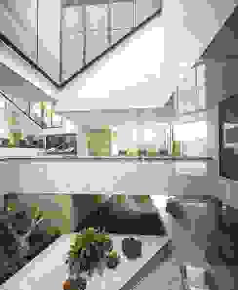 Jardines AGi architects arquitectos y diseñadores en Madrid Jardines de estilo moderno Azulejos Blanco