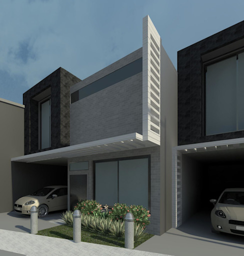 vista cercana de la fachada de una vivienda Casas de estilo minimalista de Diseño Store Minimalista