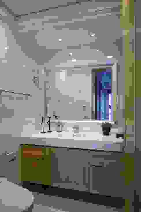 實木皮的美式線條 根據 誼軒室內裝修設計有限公司 日式風、東方風 磁磚