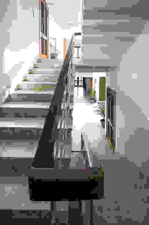 Italian Stone in Staircase Modern corridor, hallway & stairs by Manuj Agarwal Architects Modern
