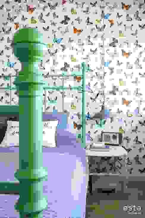 vliesbehang vlinders kleurrijk ESTAhome.nl Muren & vloerenBehang Groen