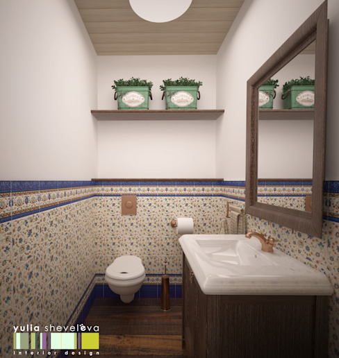 ФРАНЦУЗСКОЕ КАНТРИ Ванная комната в эклектичном стиле от Мастерская интерьера Юлии Шевелевой Эклектичный