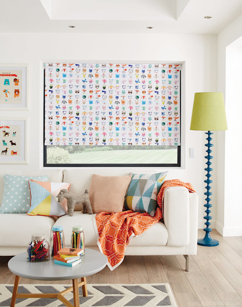 Quirky Animal Characters Patterned Blackout Roller Blinds:  Living room by English Blinds