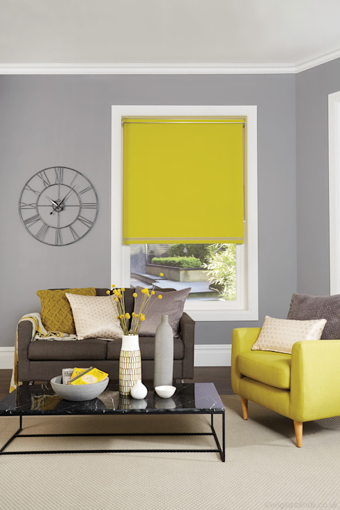 Vibrant Yellow Blackout Roller Blinds par English Blinds Moderne Textile Ambre/Or