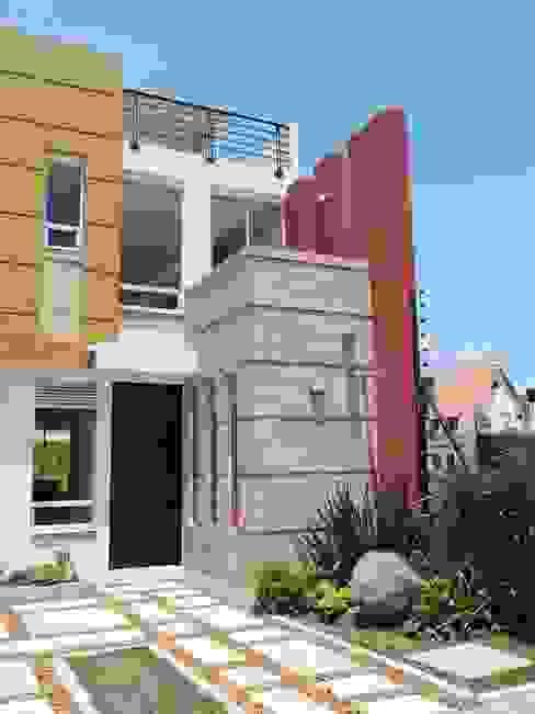 FACHADA CASA TERRACOTA: Casas de estilo  por DG ARQUITECTURA COLOMBIA,