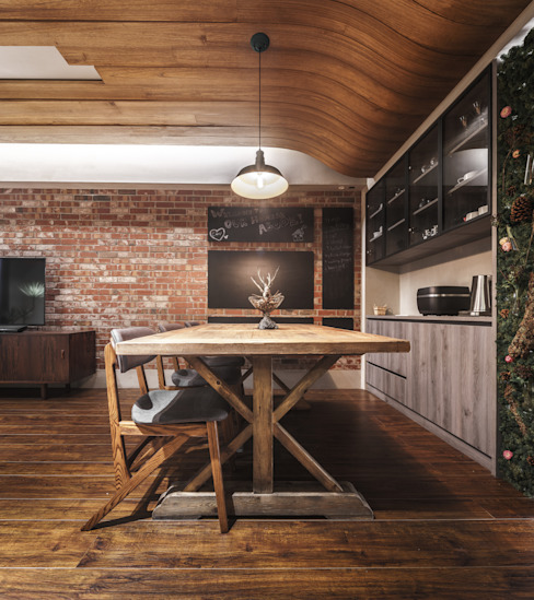 10 Industrial style dining room by 樂沐室內設計有限公司 Industrial Solid Wood Multicolored
