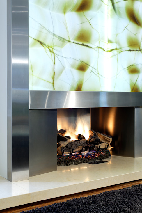 Fireplace Detail Modern living room by Douglas Design Studio Modern
