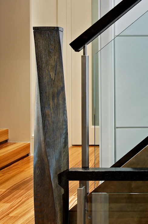 Custom Staircase Detail Modern Corridor, Hallway and Staircase by Douglas Design Studio Modern