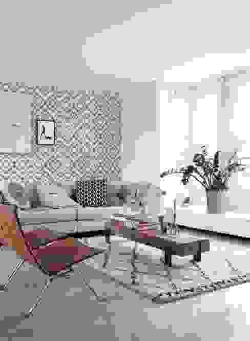 krijtverf eco texture vliesbehang aztec marrakech ibiza tapijt zwart en mat wit van ESTAhome.nl Eclectisch