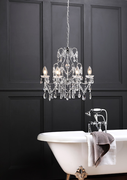 Marquis by Waterford Annalee Large LED 5 Light Bathroom Chandelier Chrome: modern  by Litecraft , Modern