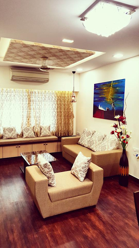 Formal Sofa with Ledge Seating Minimalist living room by SUMEDHRUVI DESIGN STUDIO Minimalist