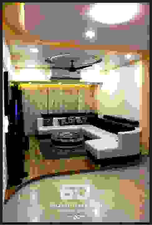 Raised Floor Informal Sofa Seating Area SUMEDHRUVI DESIGN STUDIO Modern living room