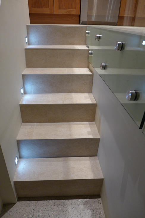 steps to basement Modern corridor, hallway & stairs by Style Within Modern Concrete