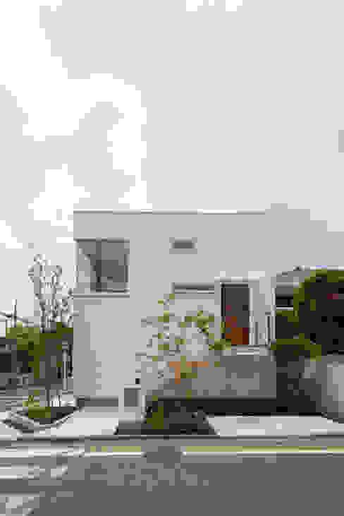 Light Well Box/東南側正面 H2O設計室 ( H2O Architectural design office ) モダンな 家 木 白色