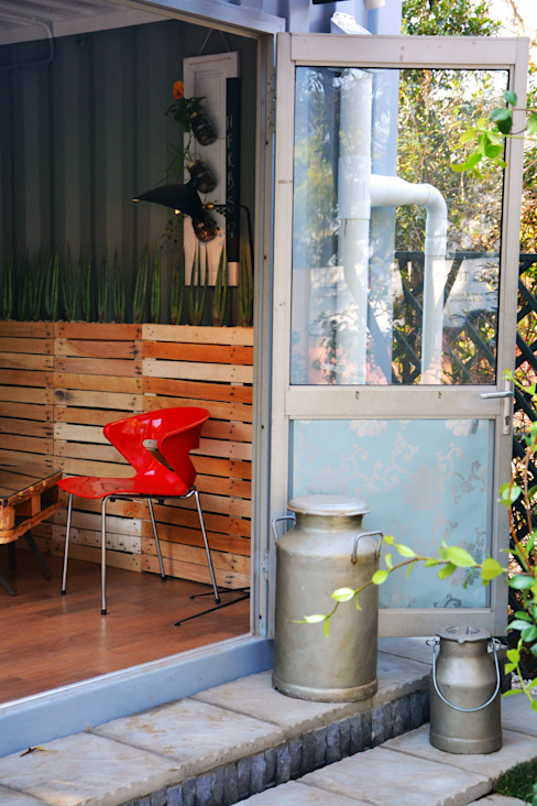 entrance to container home:  Houses by Acton Gardens