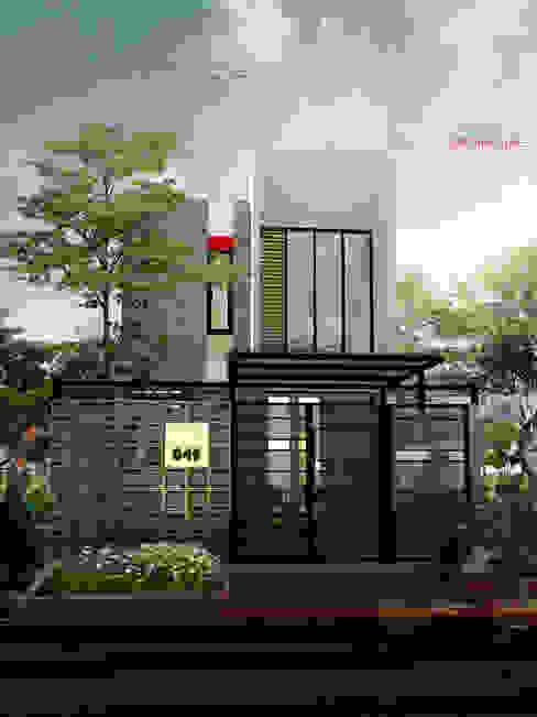 Tampak Belakang Rumah Bermuka Dua:  Rumah tinggal  by ARSITA STUDIO architecture