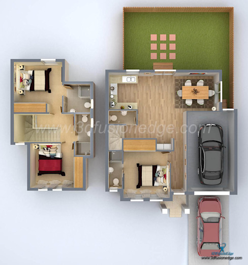 3D floor plan rendering services Oleh 3DFUSIONEDGE