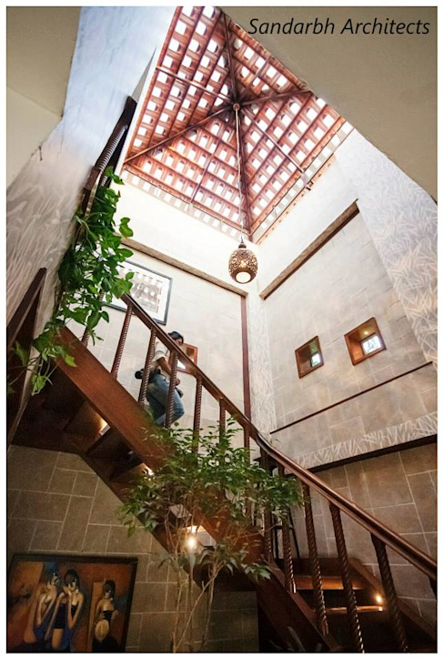 Rahaman's residence Eclectic style corridor, hallway & stairs by Sandarbh Design Studio Eclectic