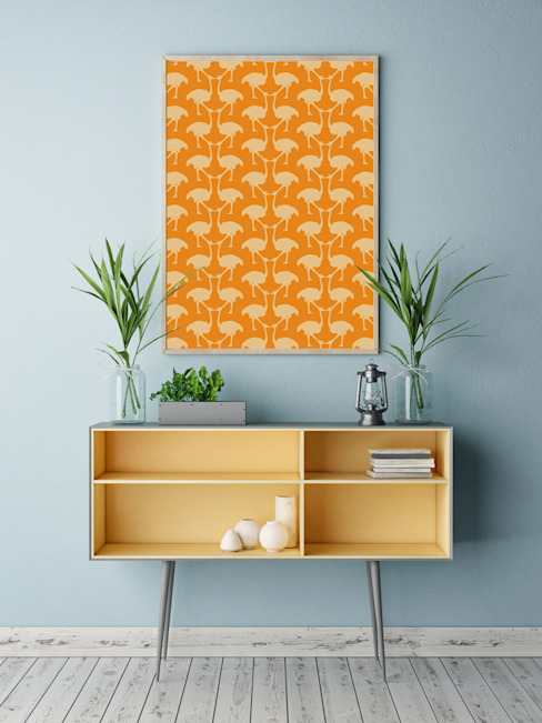 OSTRICH Wallpaper - Orange par homify Moderne Papier