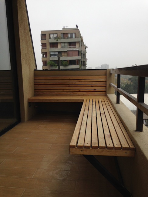 REMODELACION DEPTO PEÑA Y LILLO Balcones y terrazas escandinavas de [ER+] Arquitectura y Construcción Escandinavo