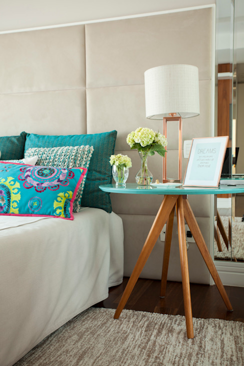 andrea carla dinelli arquitetura Modern Bedroom Turquoise