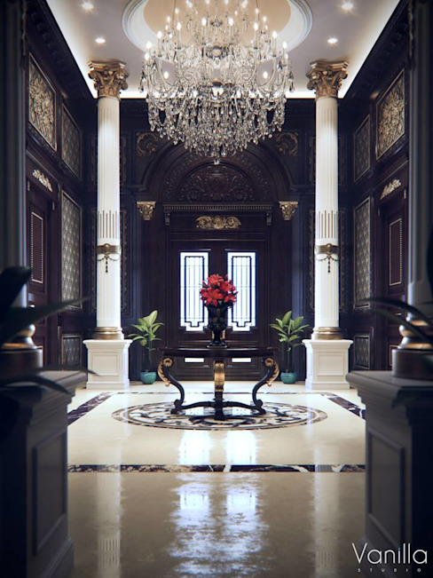 Luxurious Interior New Cairo Classic style corridor, hallway and stairs by Vanilla Studio Classic