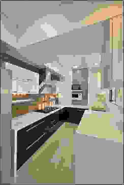 Kitchen- Residence at DLF Phase IV, Gurugram Modern kitchen by homify Modern