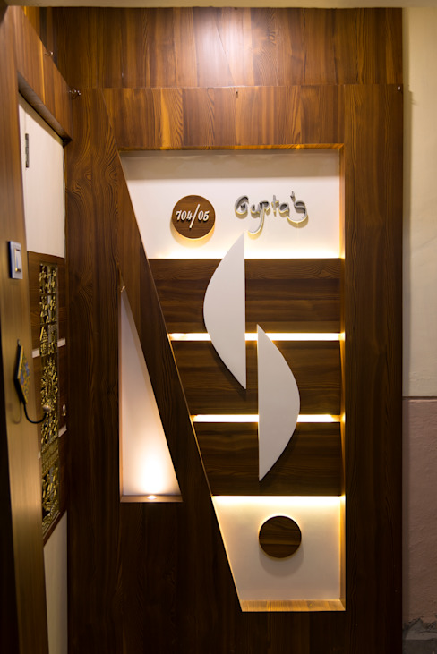 Door design Minimalist corridor, hallway & stairs by The inside stories - by Minal Minimalist Wood Wood effect