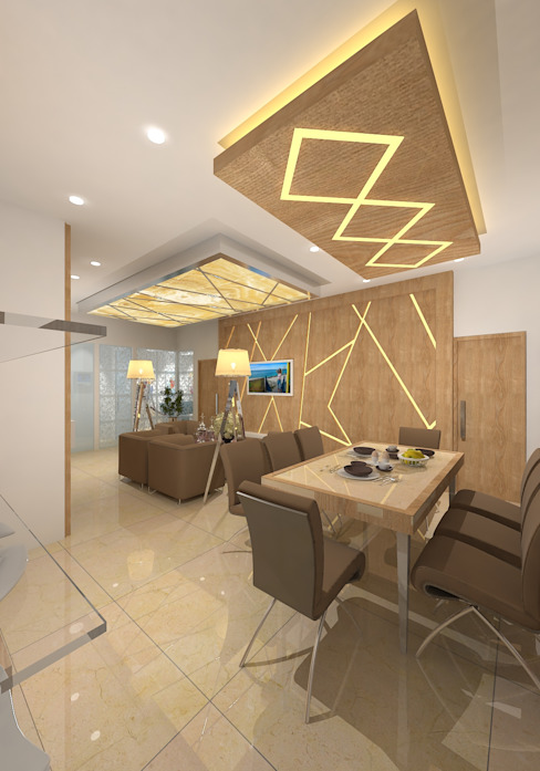 Prashant Residence Modern Dining Room by Gurooji Designs Modern