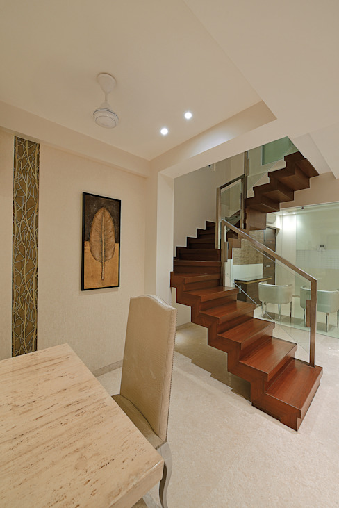 Stairs Modern corridor, hallway & stairs by homify Modern