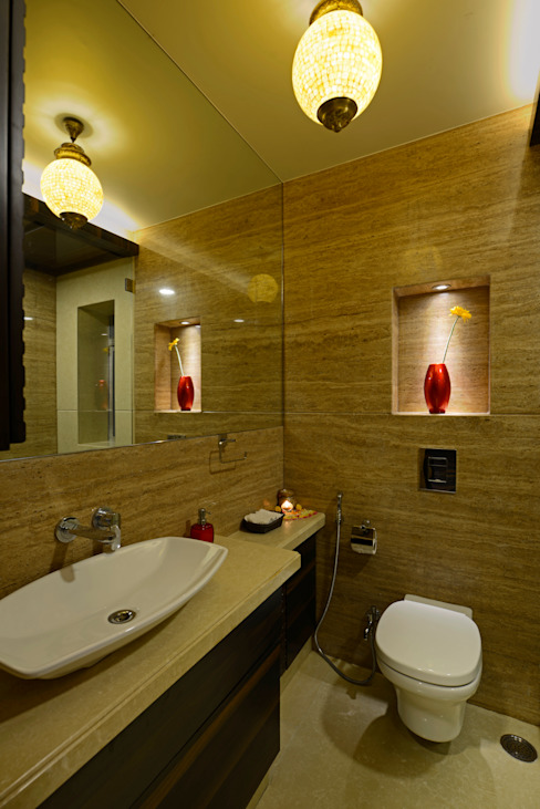 Matunga Apartment Rustic style bathroom by Fourth Axis Designs Rustic