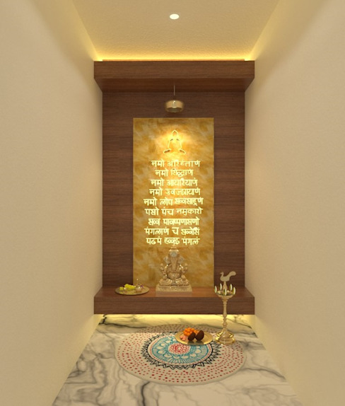 Puja Room Asian style corridor, hallway & stairs by Ravi Prakash Architect Asian Engineered Wood Transparent