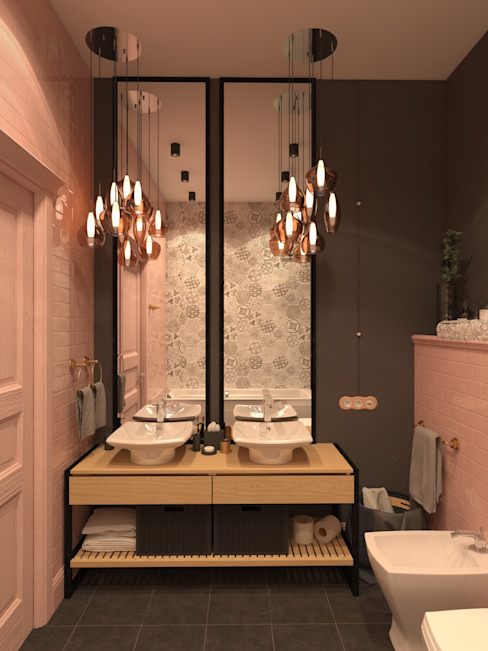 Дизайн студия ТТ Scandinavian style bathrooms Tiles Pink