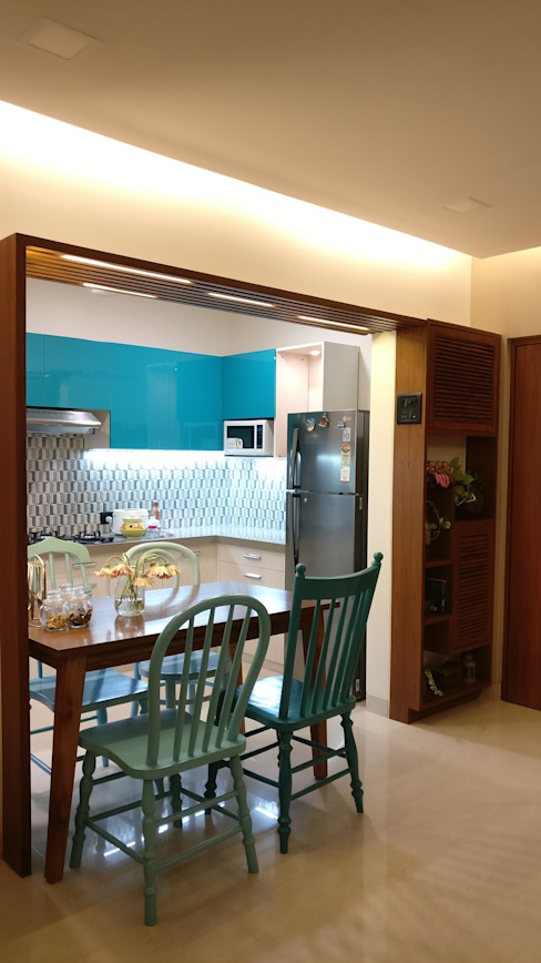 Mahim Residence got a blue touch Scandinavian style dining room by Olive Roof Scandinavian