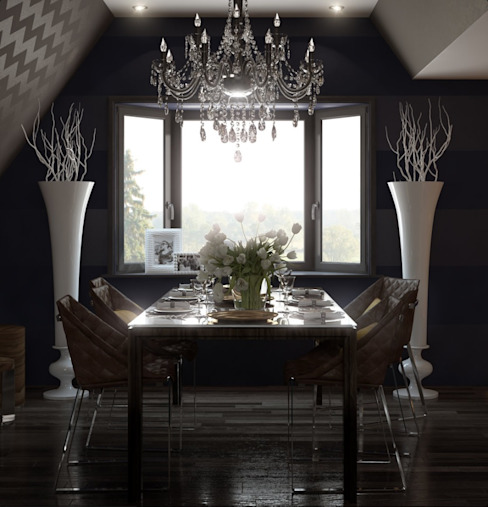 Dinning room with library @ Hatic Dolcenea Design Classic style dining room