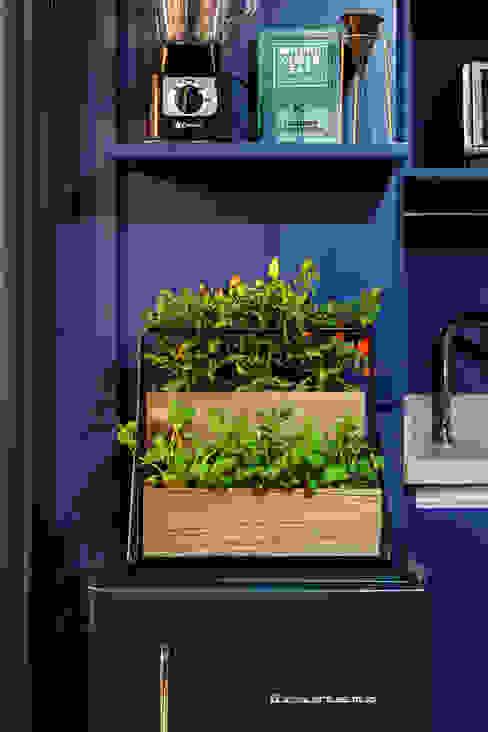 Detalhes de Cozinha Azul Integrada com Varanda Moderna e Contemporânea Decoradoria Cozinhas embutidas Derivados de madeira Azul
