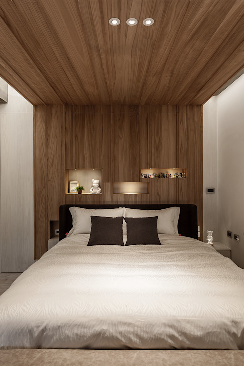 Chambre de style  par 漢玥室內設計, Industriel Bois Effet bois