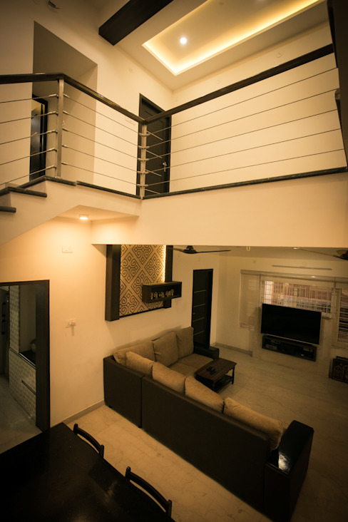 Double Height Space Modern corridor, hallway & stairs by homify Modern