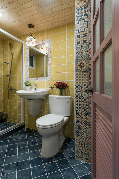 市區45年老屋華麗轉身 恬靜鄉村風 根據 采荷設計(Color-Lotus Design) 鄉村風 磁磚