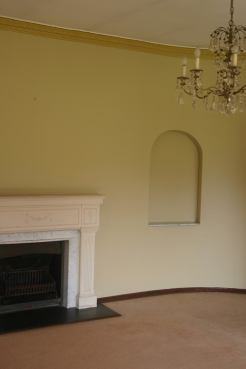 Before photo of interior, fire place Nuclei Lifestyle Design