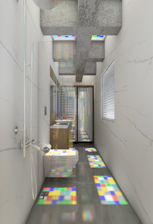 Bathroom with coloured glass in the ceiling to create an illusion with the colours. Rhythm And Emphasis Design Studio Modern bathroom