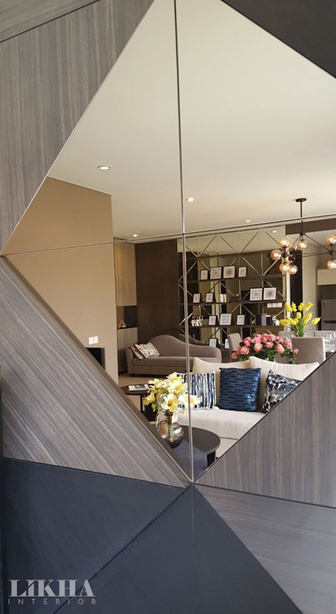 Cermin Elemen Dekoratif Likha Interior Ruang Keluarga Modern Kaca Wood effect