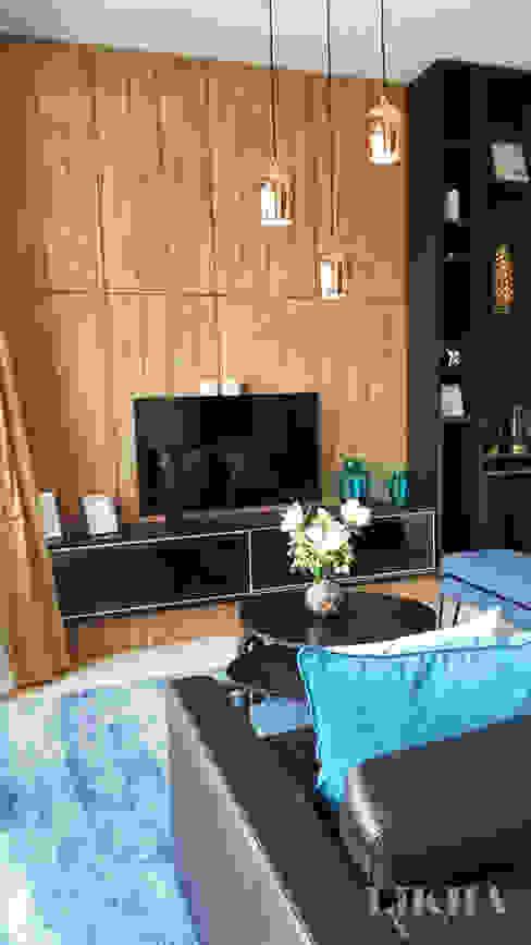 Ruang Tamu - Lantai 2 Likha Interior Ruang Keluarga Modern Kayu Lapis Wood effect