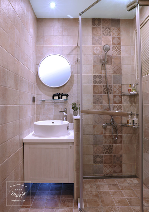 酒窩設計 Dimple Interior Design Country style bathroom Tiles Brown