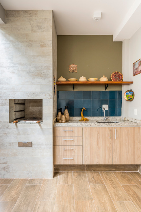 Churrasqueiras Erlon Tessari Arquitetura e Design de Interiores Varandas, alpendres e terraços mediterrâneo